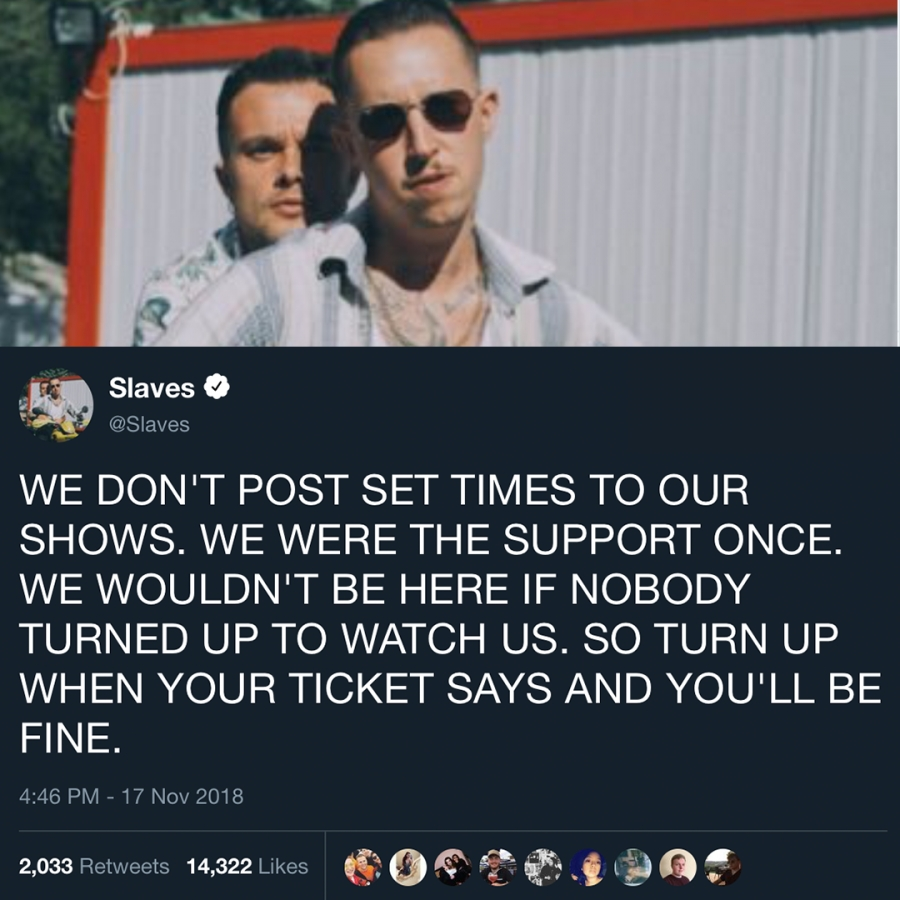 Slaves don't post set times