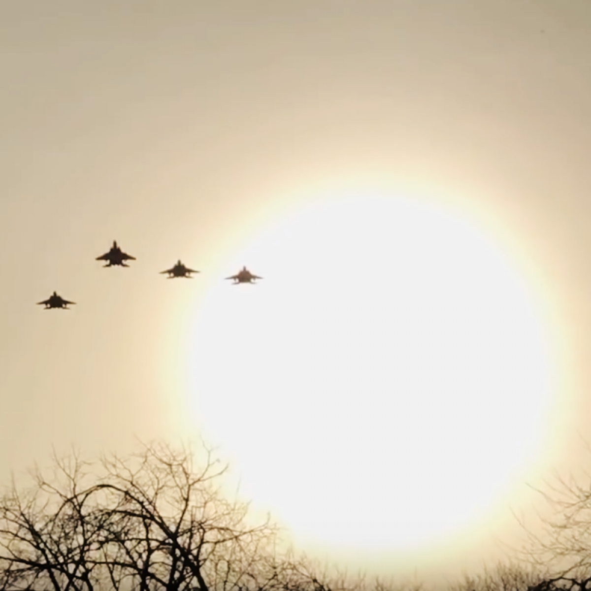 F-15s fly over Endcliffe Park for the Mi Amigo memorial flypast